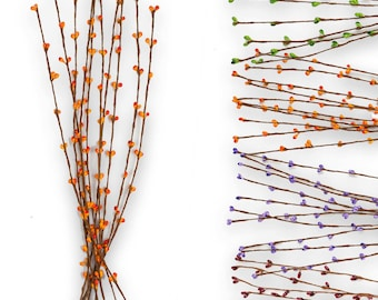 10 deco branches with buds 39 cm, colour choice-Spring floristry arranging (color: carmine red)