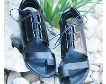 Leather Sandals, Leather Shoes, Womens Sandals, Black Sandals, Summer Sandals, Black Shoes, Ladies Shoes, Lace Shoes - SH0837LD