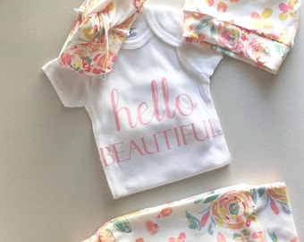 Newborn Coming Home Outfit | Floral Legging | Take Me Home Set | Baby Shower Gift | Baby Gift | Gift For Newborn | Newborn Leggings