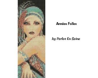 Flapper Peyote Pattern, Roaring Twenties Beadwoven Cuff Bracelet, Even Count Peyote Pattern, 1920s Seed Bead Pattern