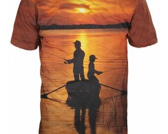 3D Fishing T-shirt Boat Fishing Sunset Sunrise Orange lake Father and Son