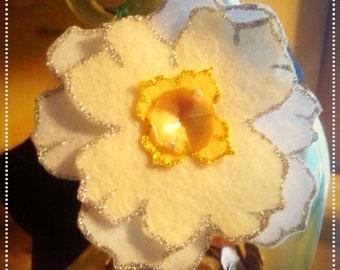 White magnolia blossom headband, workout headband, wide fabric headband
