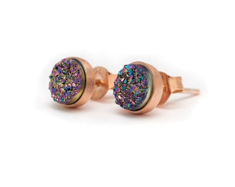 Peacock in Rose Gold Stud Earrings - Druzy / Drusy Quartz Studs - 24k Rose Gold Vermeil Stud Earrings - Round 6mm - Bezel Set