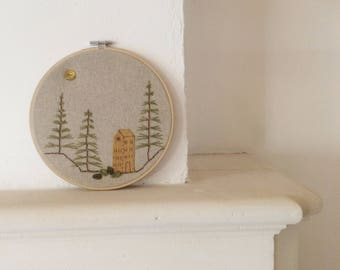 Simple trees and house embroidery in ring