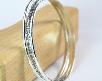 Sterling Silver Bangle Bracelets, 3 Bangle Set, Floral Bangle, Hammered Silver Bangle Set, Made to Order, Silver Bangles, Stackable Bangles