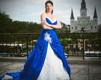 Blue Wedding Dress with White and Lace, Custom Made in your size - Dasa Style