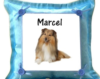 Blue cushion Border Collie personalized with name