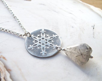 Snowflake Necklace Tourmalinated Quartz stone handmade unique .999 silver circle pendant ooak winter design .925 sterling chain