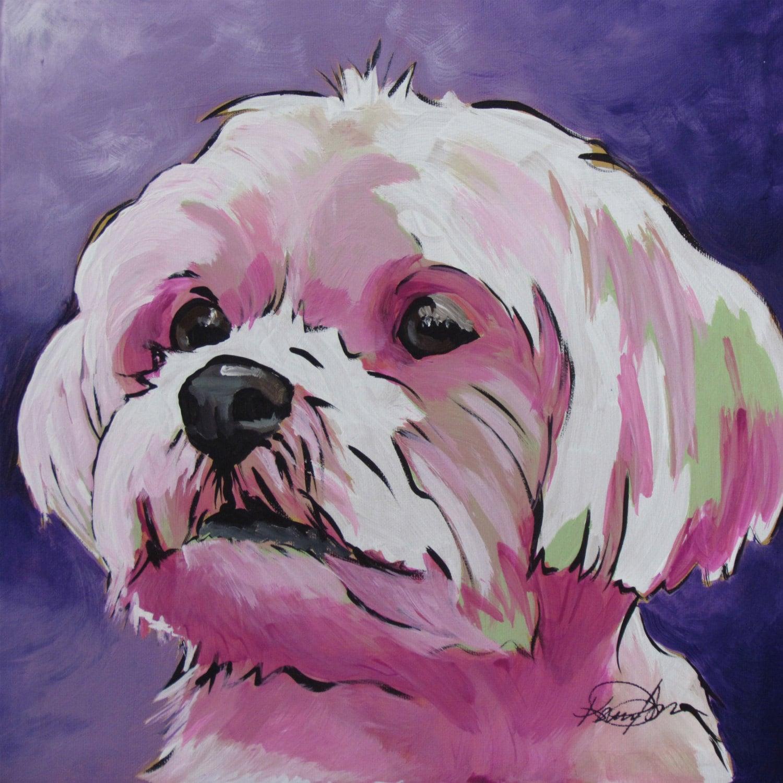 Maltese Shorkie Morkie Yorkie Dog Art Painting Pet