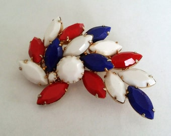 Patriotic Rhinestone Pin Red White and Blue Fourth of July Brooch