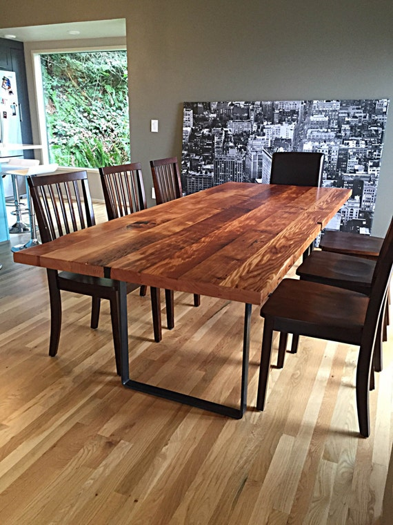 Reclaimed wood table handmade in portland or for Reclaimed flooring portland