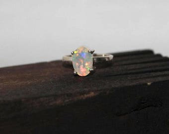 Welo opal sterling silver ring 5.25 US size , Rainbow fire Opal Ring, White Opal Ring, ethiopian opal faceted Oval 9x6 mm silver ring:- 19