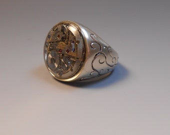 Steampunk Watch Part Ring Upcycled Genuine Watch Part Sterling Silver Ring Ladies Wrist Watch Hand Engraved