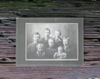 Young Family Vintage Black and White Photograph Victorian on Mat Board Stanton Springfield Ohio