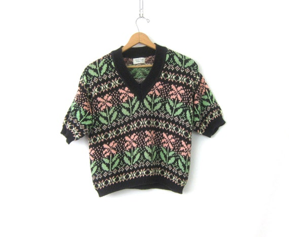 Benetton Sweater Cropped Floral Knit Sweater Short Sleeve Cotton Jumper Boho Hipster Vintage Flower Knit Top Womens Medium
