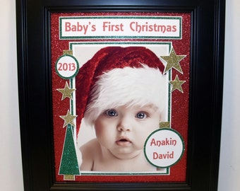Baby's First Christmas Photo Mat - Free Personalization - 8x10 Unframed Insert for 4x6 or 5x7 Photo - Horizontal or Vertical Photo