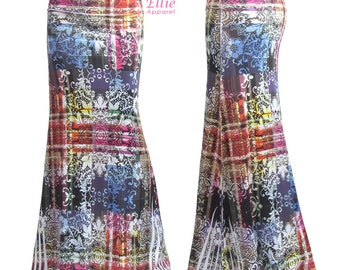 Colorful Boho Floral Comfortable Stretch Sublimation Silky Maxi Long Skirt Sizes Small/Medium/Large/XL/1XL/2XL/3XL