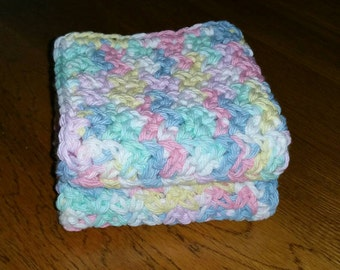 Crochet Cotton Dishcloth set of 2 in Pretty Pastels