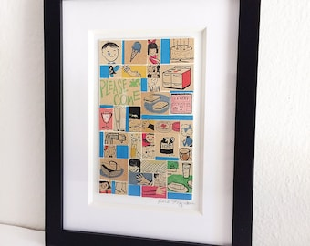 "Framed Original Collage ""Please Come"" Tiled Mosaic Bits from Vintage Children's Magazine Illustrations Mid-Century Modern Graphics Kids"