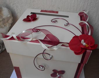 Urn wedding ivory and Burgundy with Orchid