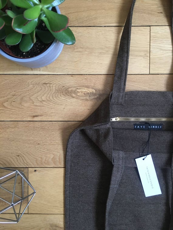 Brown tightly woven wool drill Tote bag zip compartment