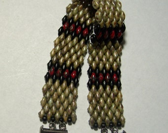 Red, Black, and Tan Snakeskin Pattern Beadwoven Superduo Bead Bracelet for a Small Wrist by Carol Wilson of Je t'adorn