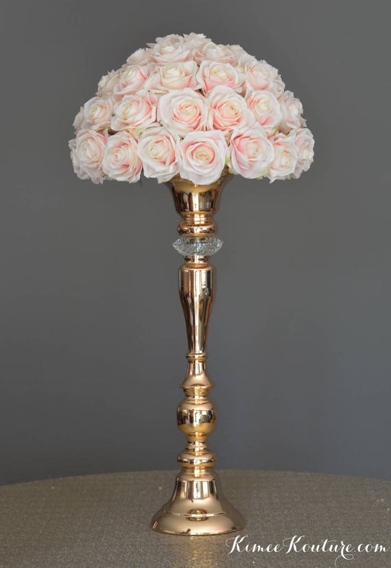 Gold centerpiece stand with crystal diamond candle