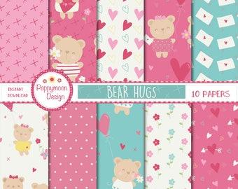 Bear hugs,valentines digital paper pack