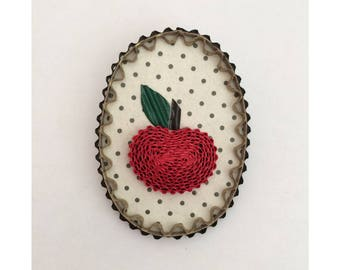 Locket brooch Red Apple