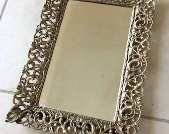 Antique Mirror Vanity Tray | Bedroom Bathroom Decor  Jewelry Storage | Ring Bracelet Earring Necklace Holder Display