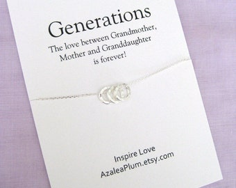 Mom Gift Birthday Solid Sterling Silver Necklace Grandma For Her