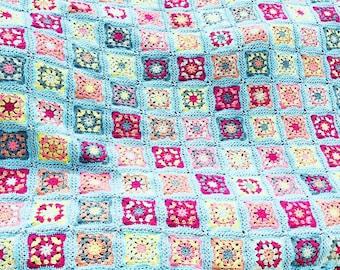 Large crochet granny square blanket, crochet afghan