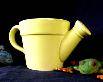 Vintage Ceramic Watering Can Planter Jardiniere, Succulent Planter, African Violet with Bottom Watering In Lime Green