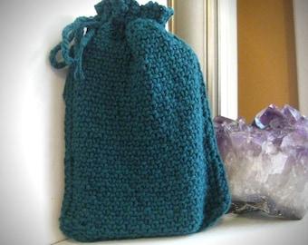 Tarot Bag / drawstring tarot bag / tarot pouch / teal tarot bag / knit tarot bag / tarot accessories / tarot deck bag / tarot cards pouch