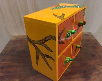 Madhubani four drawer storage box
