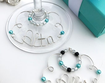 Tiffany and co etsy breakfast at tiffany blue personalized wine charms tiffany and co audrey hepburn style bridesmaid gifts negle Images