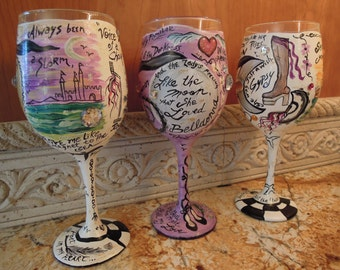 TYPSY GYPSY, Stevie Nicks, Rock Goddess, Handpainted Custom Wineglass with your favorite lyrics, other musicians on request