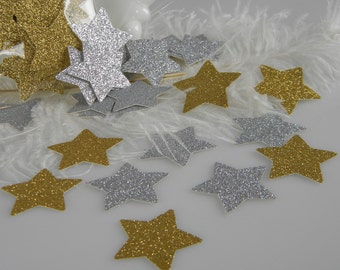 Twinkle Glitter Star Gold Silver Table Confetti | Holiday Decoration | Graduation | 50th Birthday Party Decor | 1-3/8""