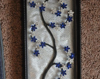 Blue and White Origami Flower Frame with Lights