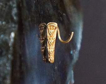 Tribal Nose Ring Stud In 22K Solid Gold- Nose Screw- Nose Stud Gold- Nose Pin- Tribal Nose Jewelry Piercing