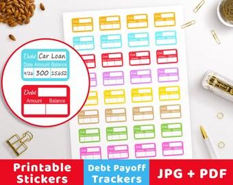 Debt Payoff Planner Stickers Debt Tracker Sticker, Bullet Journal Stickers Printable Planner Stickers, Debt Payoff Tracker Financial Sticker