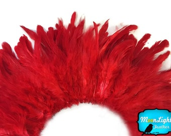 Red Rooster Feathers, 4 Inch Strip - RED Strung Rooster Schlappen Feathers : 3273