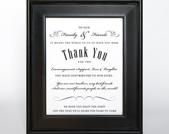 Fancy Thank You Sign Printable DIY Digital File PDF Wedding 4x6 5x7 and 8x10 Friends Family Gift Table Sign PDF