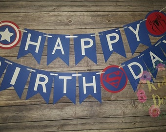 Super Hero Happy Birthday Banner