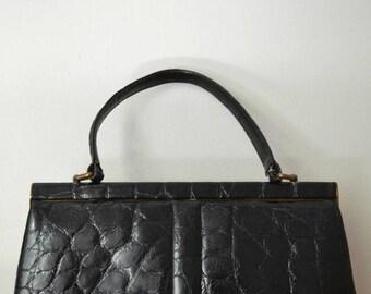 Vintage 60s black leather Finnigans of Bond Street handbag bag