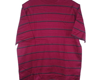 1950s Bloomingdales Red Striped Mock Turtle Neck Vintage Made in Italy Tee T Shirt - Small