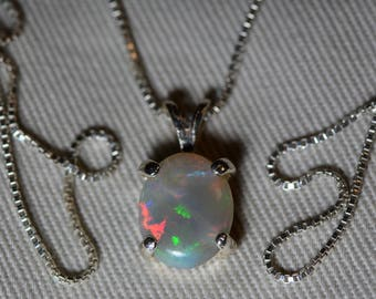 Australian Opal Necklace, 1.76 Carat Natural Solid Cabochon Opal Pendant, Semi Black Semiblack Australia, Sterling Silver, Pink Purple Green