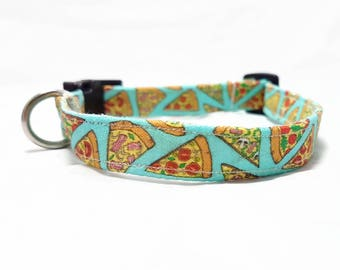 "Dog Collar - ""Pizza"" - Fast Food/Foodie Dog Collar - Turquoise/Light Blue - Fun/Funny/Cool Dog Collars - Soft/Durable Dog Collar - Cotton"