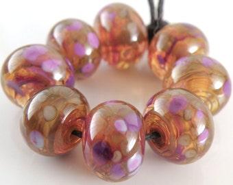 Jewel Tone Swirls SRA Lampwork Handmade Artisan Glass Donut/Round Beads Made to Order Set of 8 8x12mm