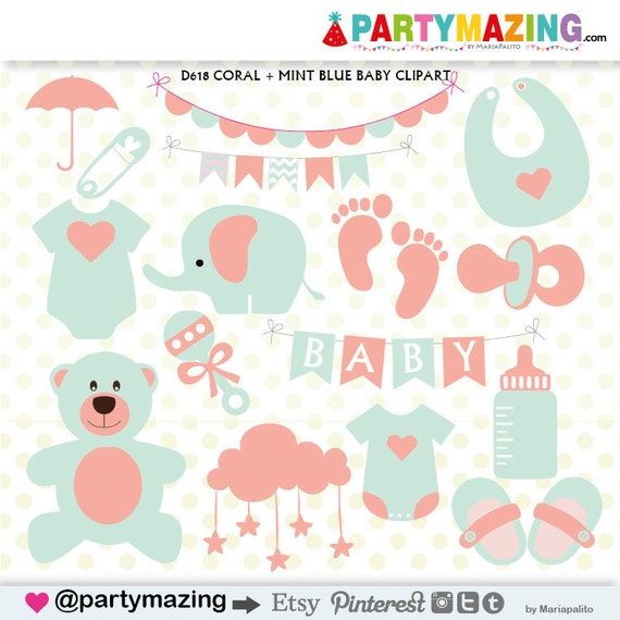 baby stuff clipart baby shower clipart coral and mint teddy rh etsy com free baby stuff clipart Baby Bottle Clip Art